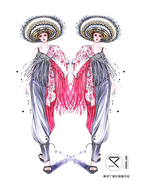 服装设计效果图;服装手绘;时装画;手绘时装画;丁香;丁香时装画;马克笔