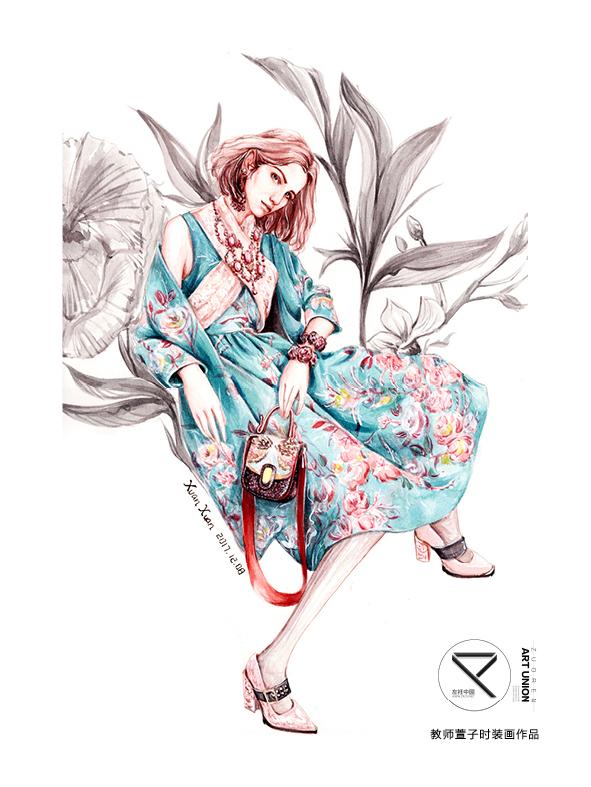 教师萱子手绘时装画作品